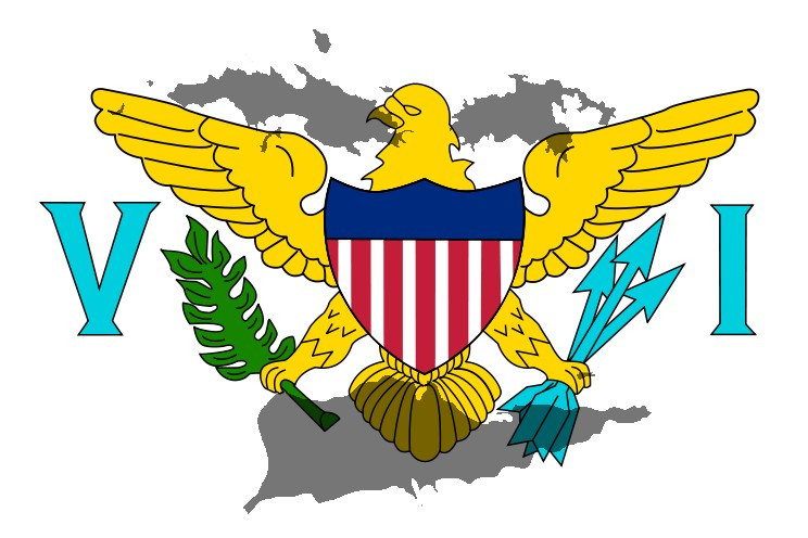 US Virgin Islands Flag with the three islands in the backdrop.