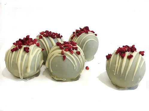 Vegan White Chocolate & Raspberry brownie truffles