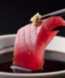 sashimi tuna soya and wasabi