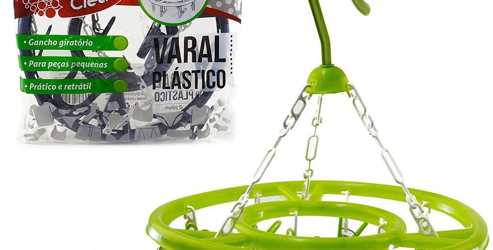 VARAL DE PENDURAR REDONDO DE PLÁSTICO MAX CLEAN COLORS COM 13 PRENDEDORES 28CM