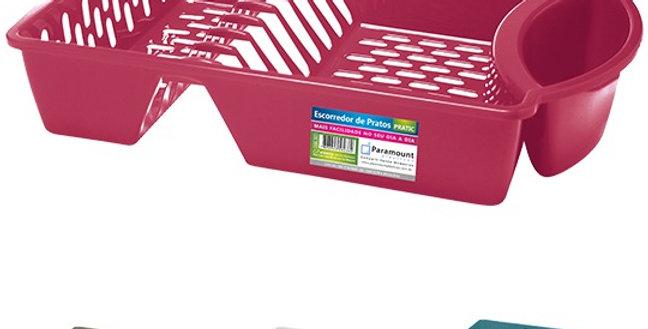 ESCORREDOR / SECADOR DE PRATOS DE PLASTICO PRATIC COLORS 43X30X8,5CM