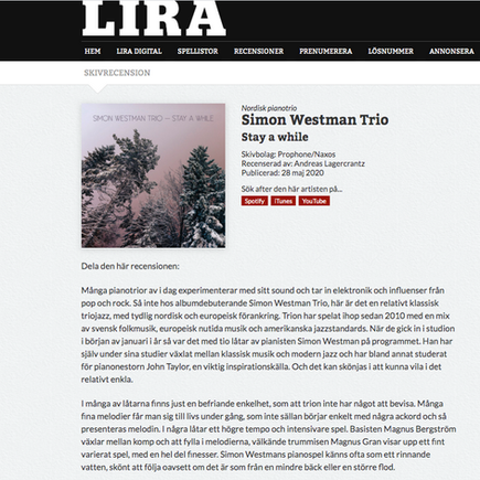 Review in swedish music magazine LIRA