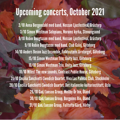 Some upcoming concerts in October