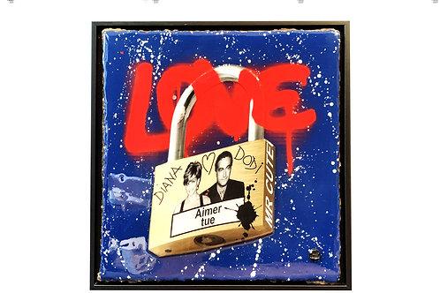 "Tableau ""Love Padlock - Aimer tue - Diana ft. Dodi"" de Mr Cute - Princess Diana - Cadenas Paris - Pop Art"