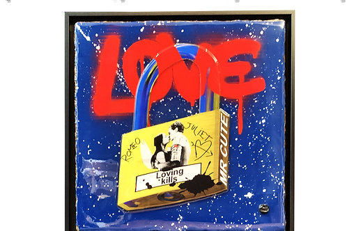 "Tableau ""Love Padlock -Loving kills - Romeo & Juliet"" de Mr Cute - Cadenas Paris - Pop Art"