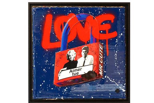 """Tableau """"Love padlock - Marilyn & John"""" de Mr Cute - Marilyn Monroe et John F. Kennedy - Pop Art"""