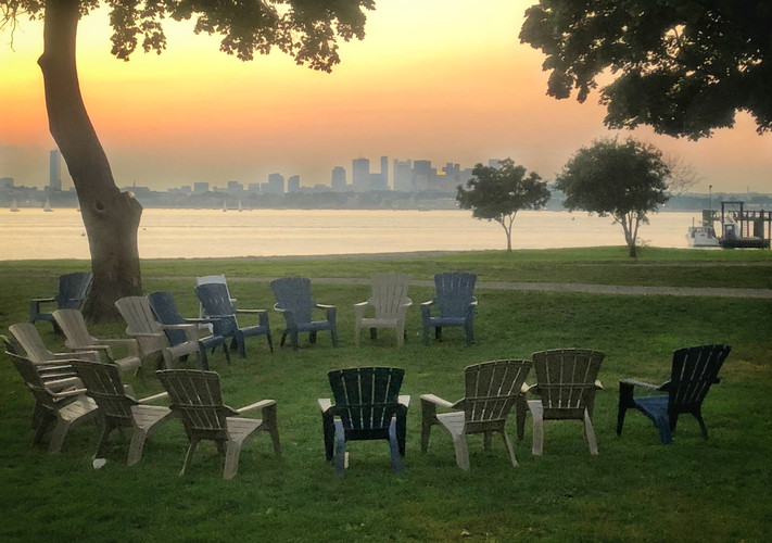 Classic island sunset over Boston Harbor