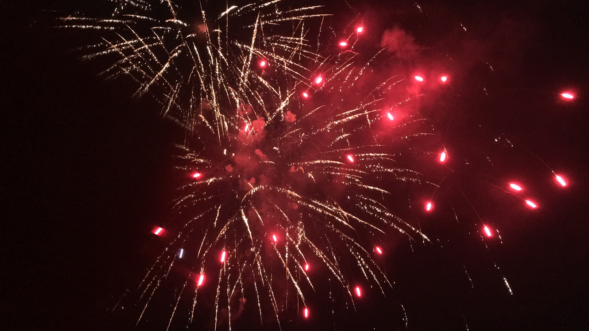4th of July fireworks, red burst
