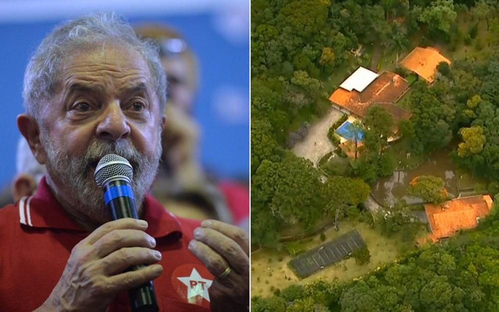 Defesa de Lula quer que ação envolvendo sítio de Atibaia seja redistribuída para São Paulo (Foto: Nelson Almeida/AFP e Reprodução/TV Globo)