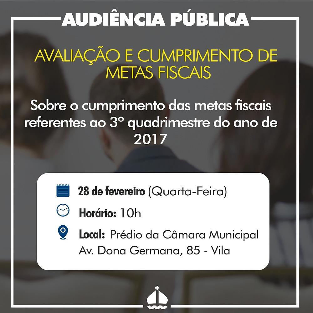 Cartazete de divulgação da audiência pública