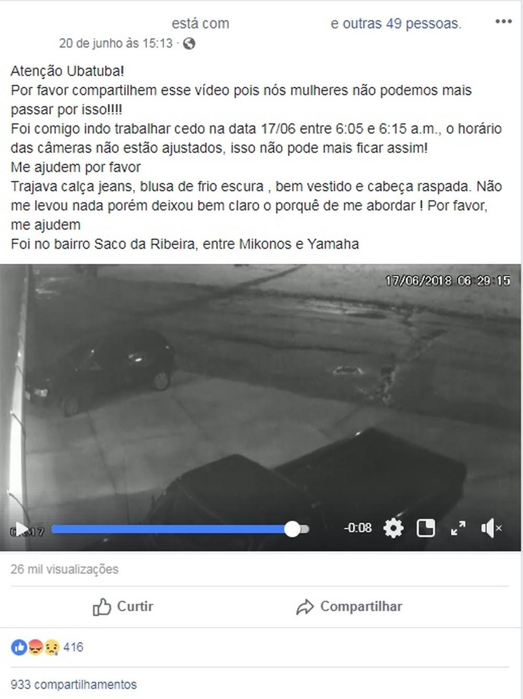 Postagem da vítima em rede social ajudou na identificação - Foto: Reprodução/Facebook
