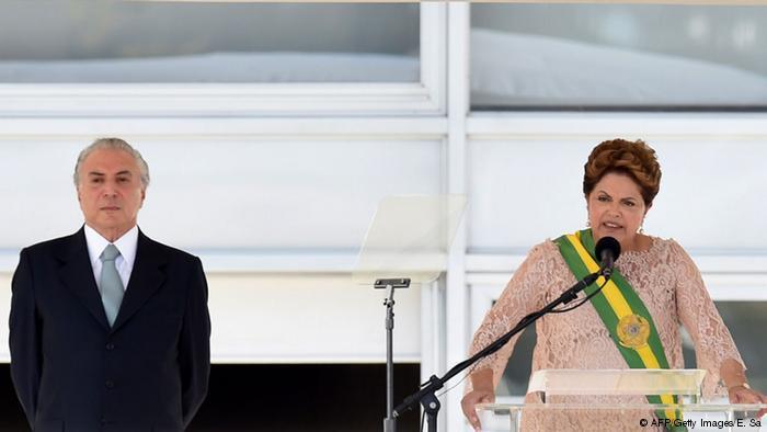 Dilma e seu vice, Michel Temer, durante a cerimônia de posse do segundo mandato