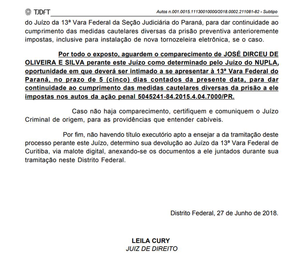 Trecho de decisão judicial que manda José Dirceu comparecer ao juiz Moro (Foto: Reprodução)