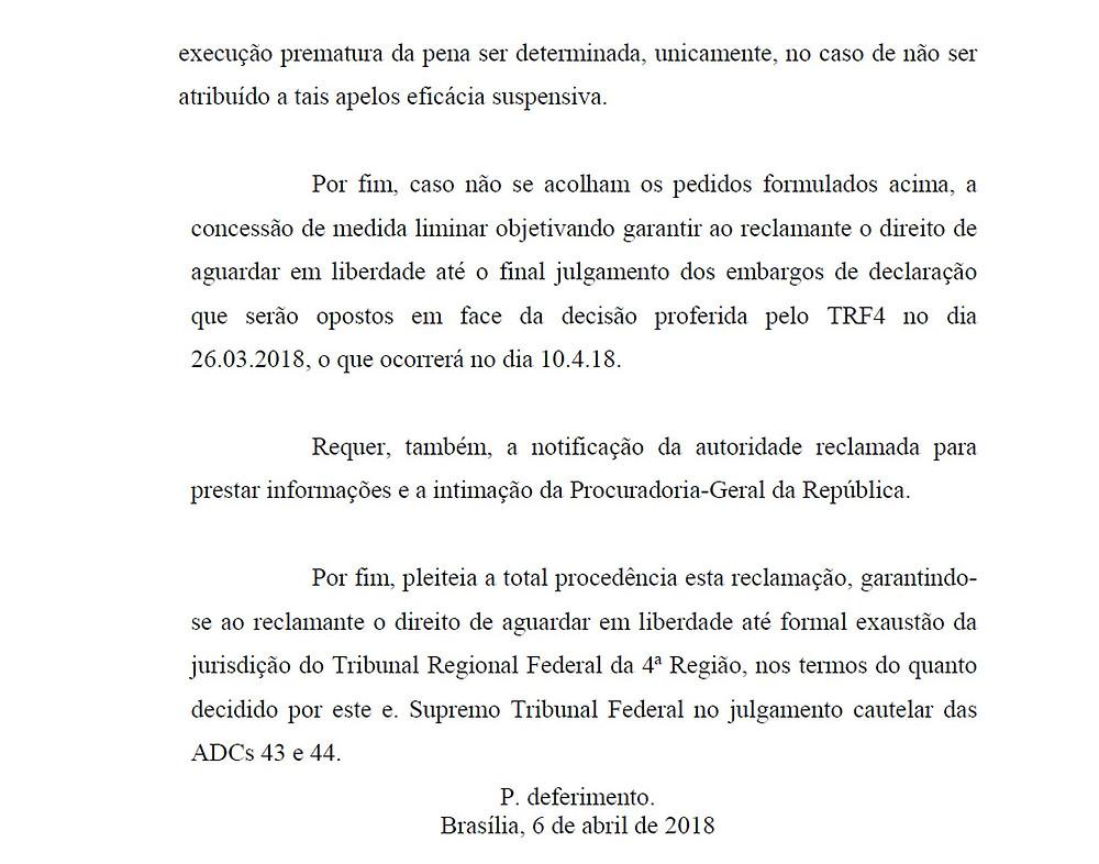 Pedido da defesa do ex-presidente Luiz Inácio Lula da Silva ao Supremo Tribunal Federal (Foto: Reprodução)