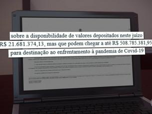 Juíza suspende repasse de R$ 500 milhões da Lava Jato ao combate da Covid-19 até decisão do STF