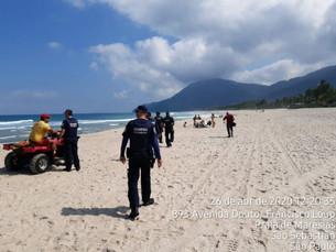 Forças de Segurança Urbana fiscalizam praias e orientam importância de isolamento em São Sebastião
