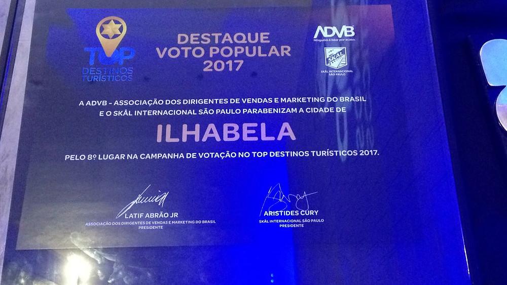 Prêmio de destaque pela 8ª colocação na campanha de votação popular do evento - Foto: Divulgação/PMI