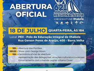 Abertura da 62ª edição dos Jogos Regionais promete entrar para história do torneio e das cidades sed