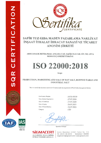 ISO22000 Certificate