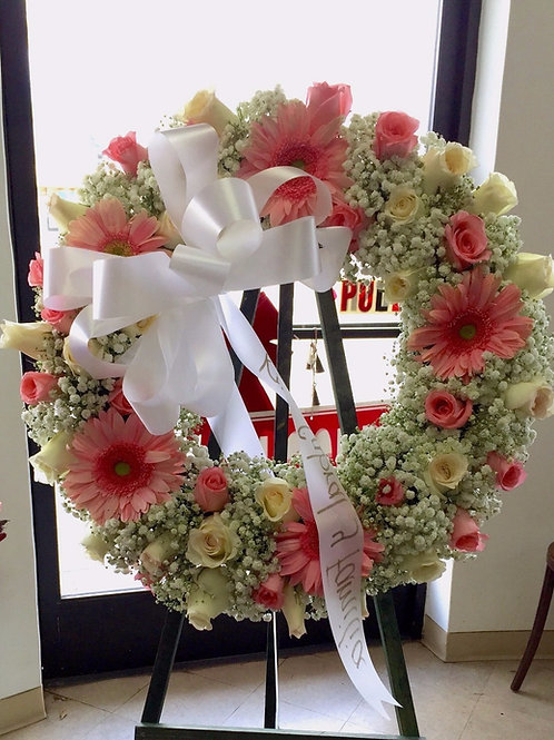 """Funeral Stand 2  (18"""" wreath, can upgrade to 21"""" for$ 240)"""