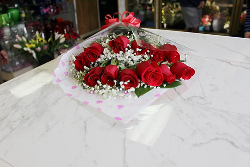 1 Dozen Wrapped Import Roses wrapped