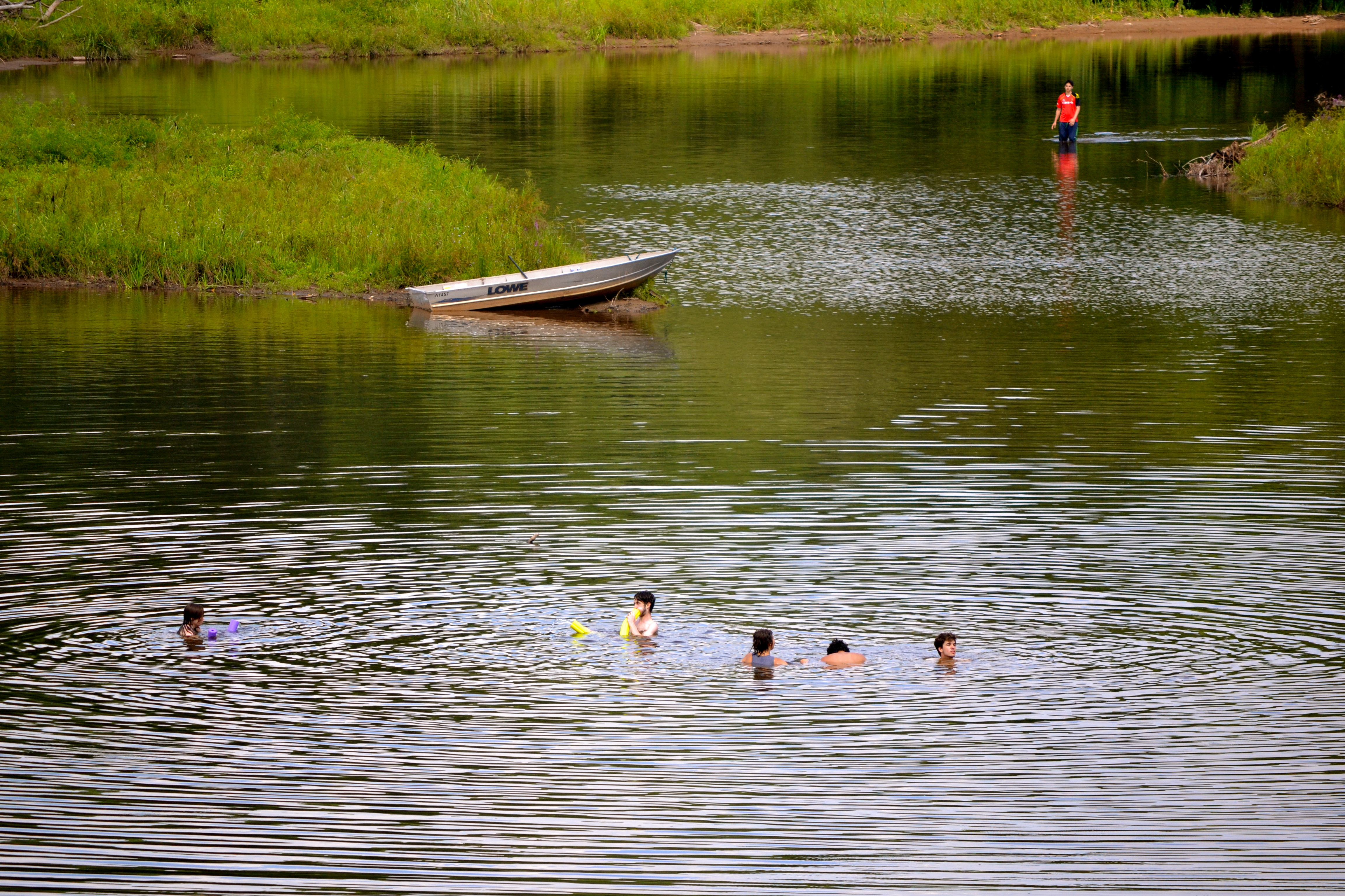Swimming and rowing on the lake
