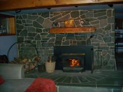 Warm, cozy, rustic fireplace