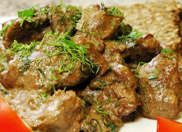 Печень говяжья в сливочном соусе (вес блюда: 500гр.) состав в описании.