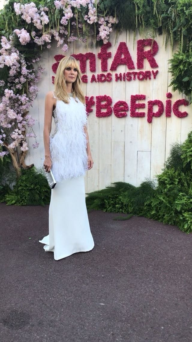 528785d12 Cannes 2018: Dewi Driegen at the amfAR Gala in Cannes in Celia Kritharioti  backless creation with embellished ostrich feathers.