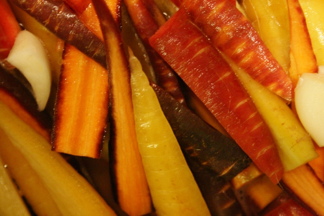 Colourful heirloom carrots