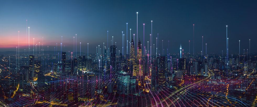 Smart city and abstract dot point connec