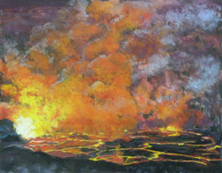Evening At The Lava Lake,14x11, $350