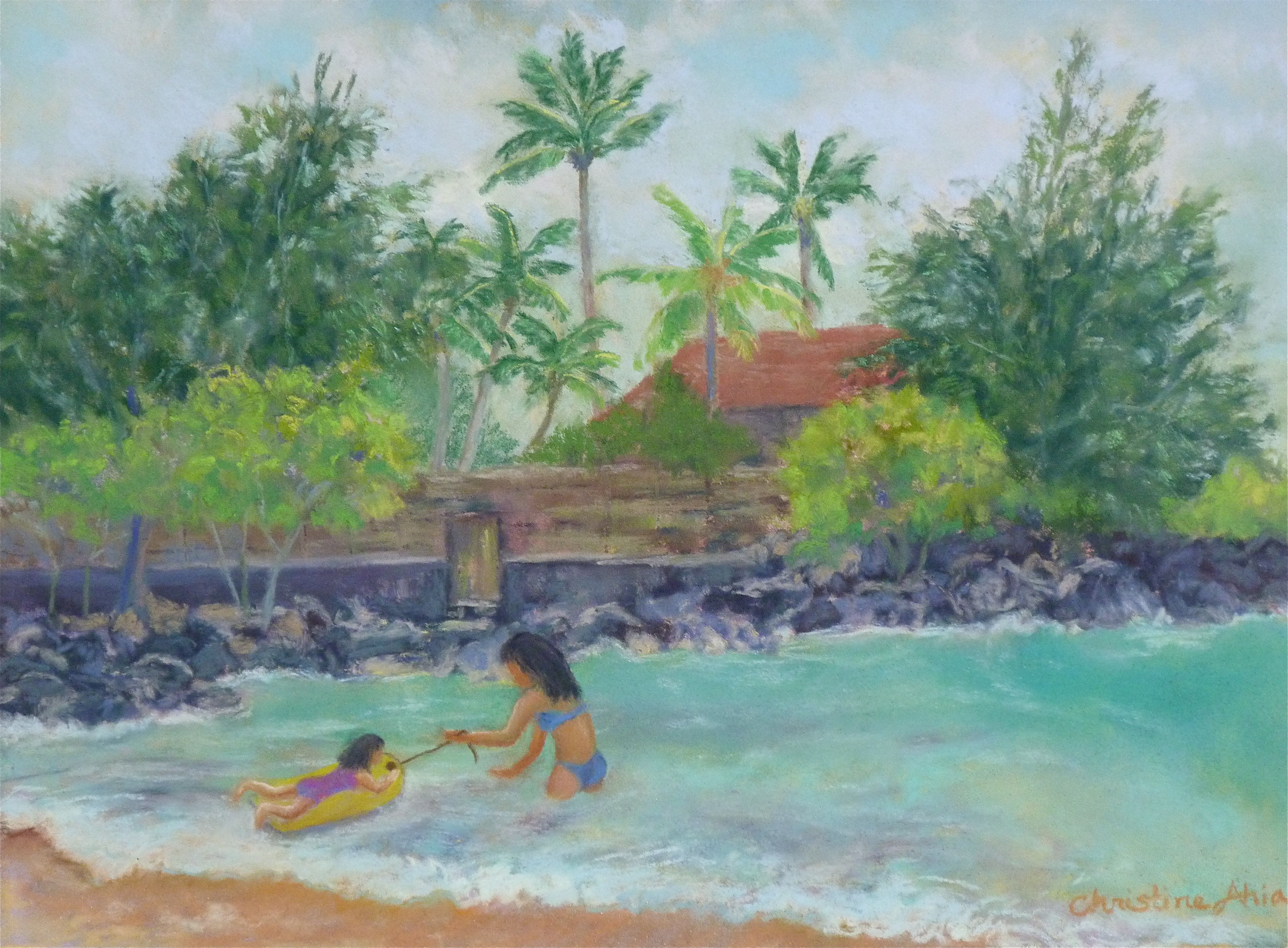 Playing at Waialea Bay, 12x9, $325