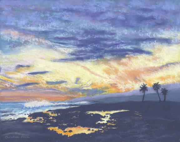 Sunset at ʻApua Point, 14x11, $400