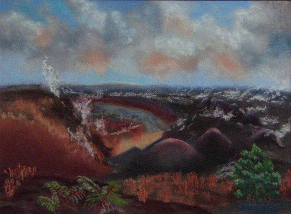 Kaʻū view of Kīlauea, 12x9, $300