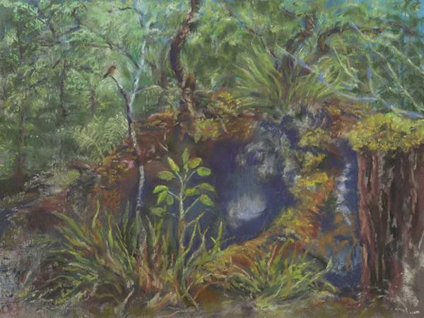 ʻElepaio ma Kaulana Manu, 12x9, $325