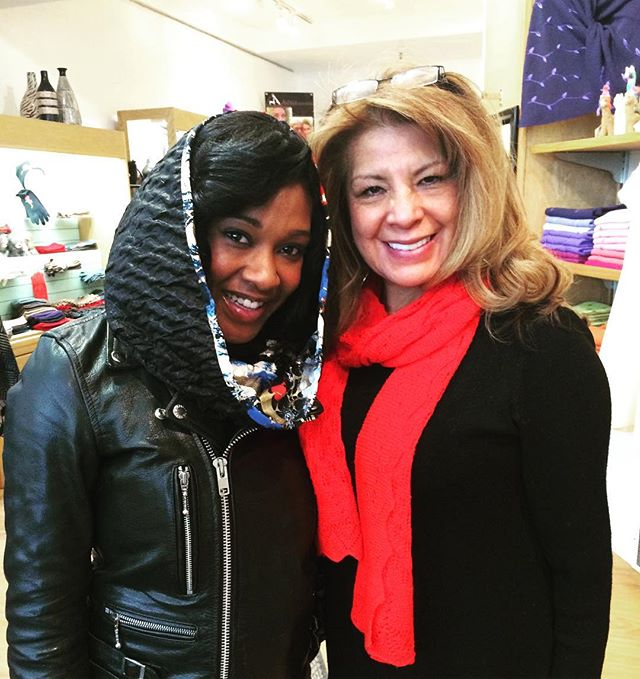 Click Host Sabrina Taylor-Smith with Zia Boccaccio of _alpacainternational on #MainStreet in #ParkCity #Utah #sundance One of our favorite s
