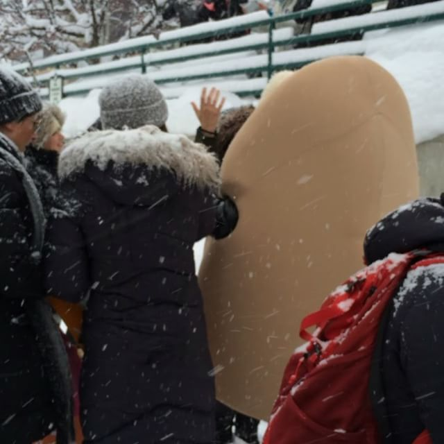 A woman in a #pussycostume during the #womensmarchparkcity #sundance #parkcity #mainstreet #pussy #womensmarch #womensmarch2017