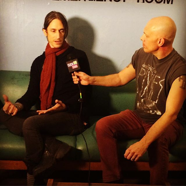 Host Flex talking to _jimmygneccoofficial during #clickonthis interview at _theottobar in Baltimore