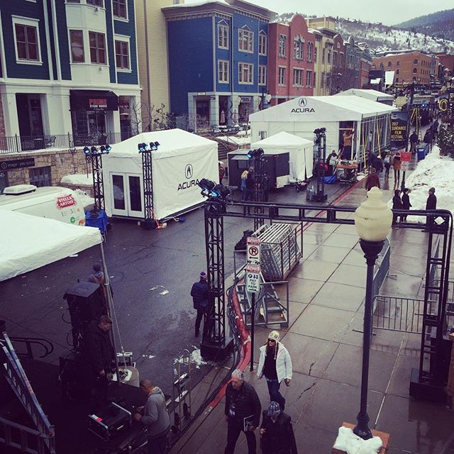 Main Street is being set up!! Busy busy!! #sundancefilmfestival #sundance #sundance2017
