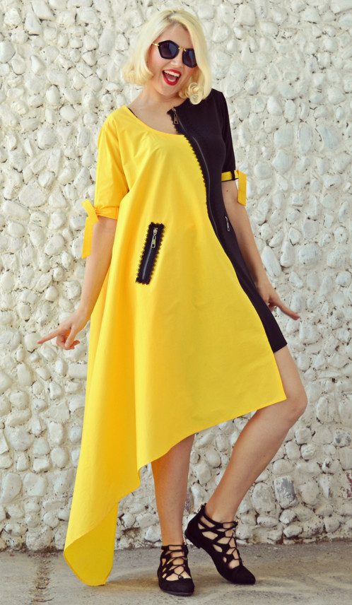 black and yellow extravagant dress funky dress