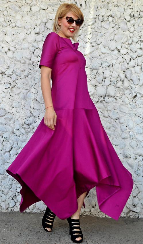 Purple Flared Dress, Purple Maxi Dress, Asymmetrical Cotton Dress ...