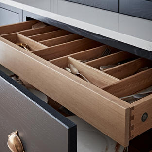 What's not to love about these beautiful internal drawers. The natural oak and attractive dovetail jointing to start with - that's why we've proudly added our branded stamp.
