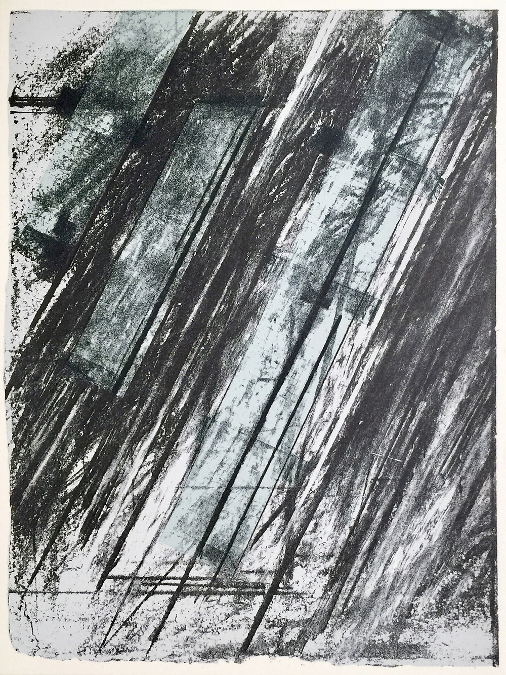 "Untitled, 1973; Lithograph and serigraph on mould made rag paper; Numbered 102/300, initialed C.T., and dated 73 in pencil lower edge verso; Stamped © Copyright 1973 By Cy Twombly Printed At Styria Studio in black ink, upper right verso; Published by Experiments in Art and Technology, Inc.; Catalog Raisonne: Bastian 38; Size - Sheet 12 x 9""; Unframed."