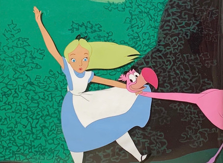 """Original Production Animation Cel of Alice and a Flamingo from """"Alice In Wonderland,"""" 1951"""
