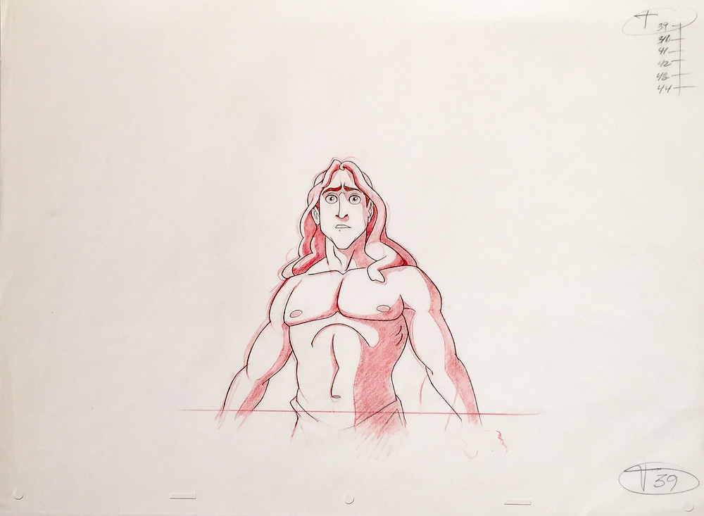 """Original production animation drawing of Tarzan in red and graphite pencils from """"Tarzan,"""" 1999, Walt Disney Studios; Numbered 39 in graphite pencil lower right and with animation ladder upper right; Size - Tarzan: 7 1/4 x 6 1/4"""", Sheet 12 1/2 x 17""""; Unframed."""