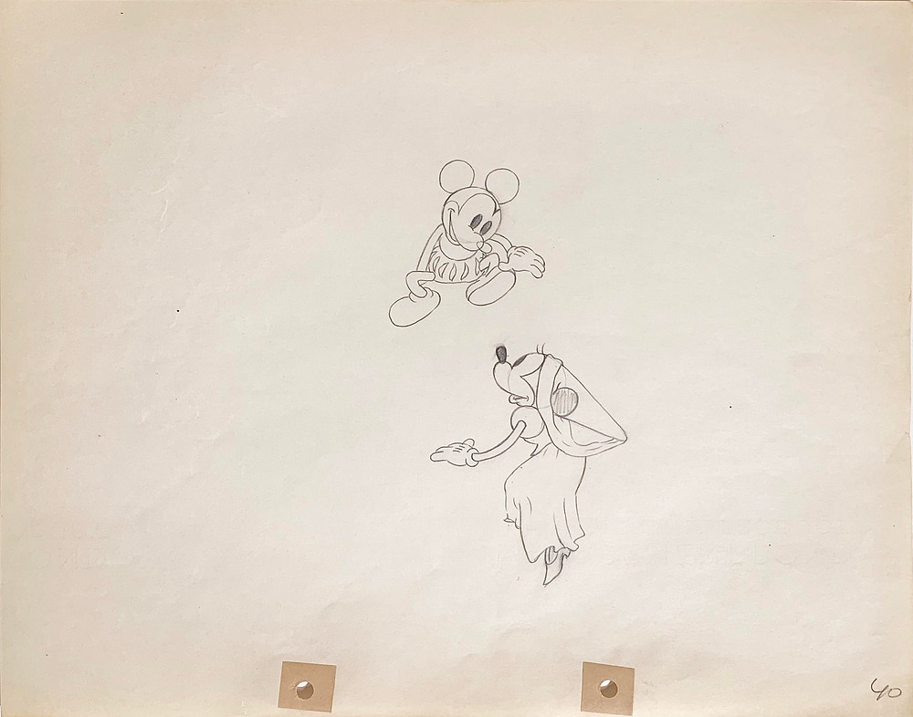 "Original Production Animation Drawing of Mickey Mouse and Minnie Mouse from ""Ye Olden Days,"" 1933"