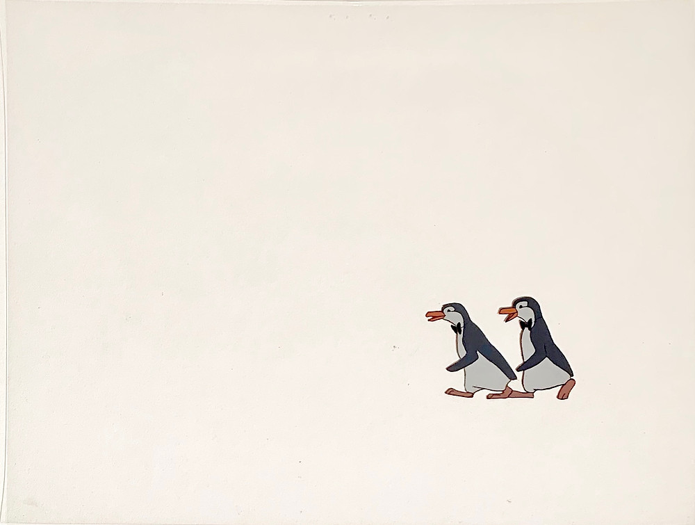 Original production animation cel of Two Penguin Waiters without the background.