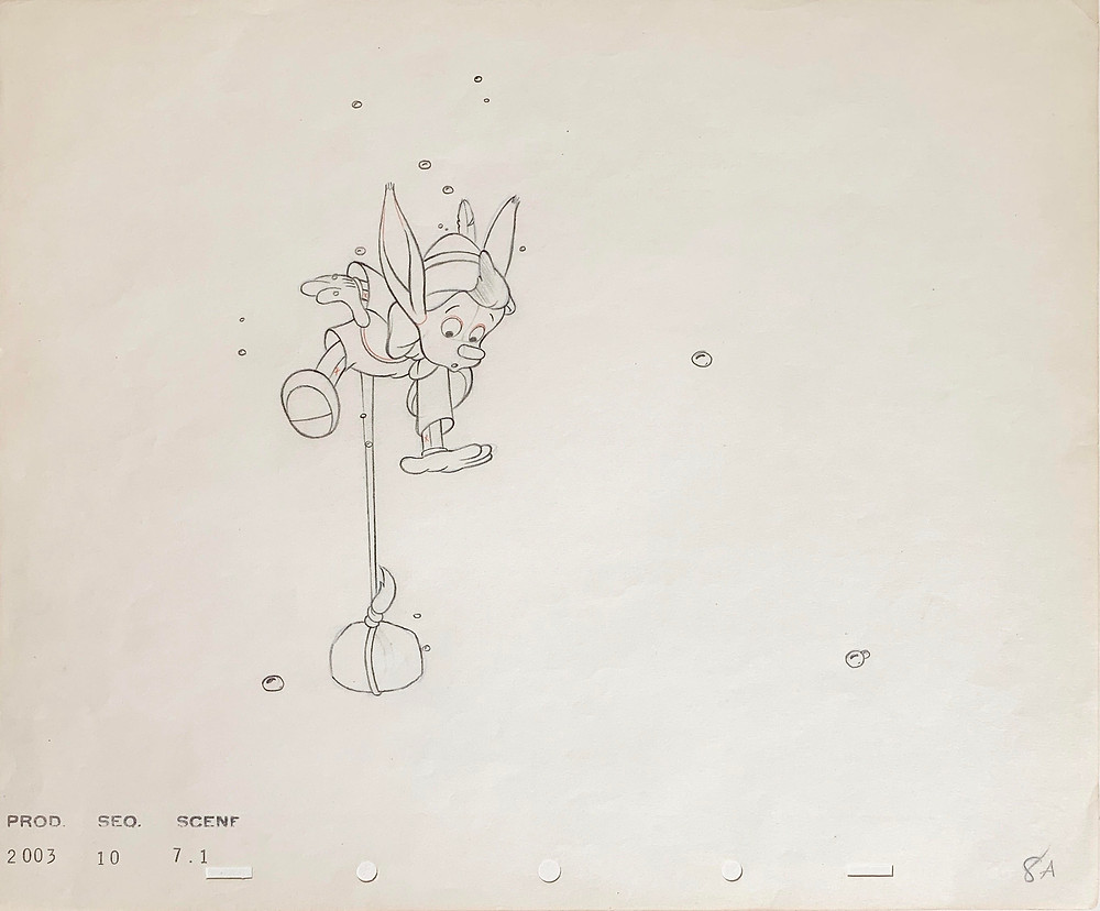 """Original Production Animation Drawing of Pinocchio from """"Pinocchio,"""" 1940"""