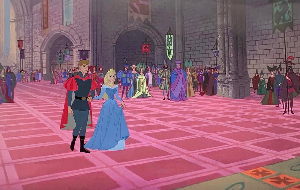 "Original Production Animation Cel of Prince Phillip and Princess Aurora from ""Sleeping Beauty,"" 1959"